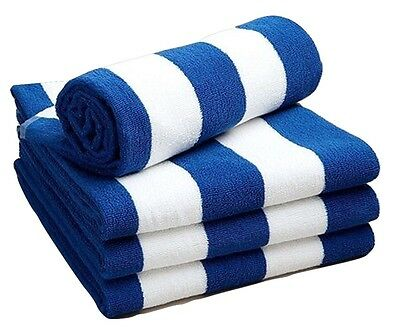 Chlorine Resistant Cotton Pool Beach Towel Blue and White Stripe 70x150cm 420gsm