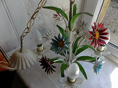 French exquisite 4 light chandelier tole  floral lovely color vintage