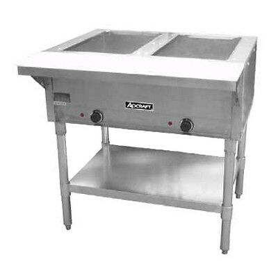 Adcraft ST-120/2 2-Well Steam Table With polycarbonate Cutting Board