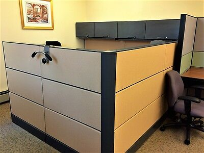 Pair of Executive Office Cubicles 9x8 U-shaped. Massive storage and filing space