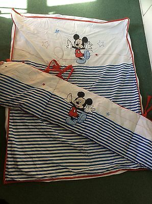 Mickey Mouse Boys Cot Bed Bedding Baby Boy Mothercare Bumper