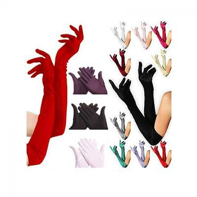 Bridal Opera Evening Party Long Prom Costume Gloves Satin