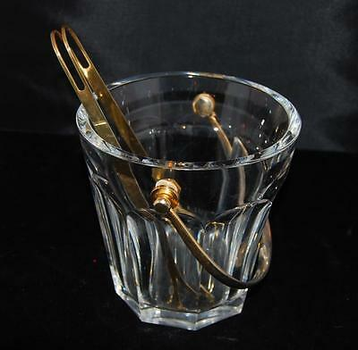 """Baccarat French Crystal Tallyrand Ice Bucket 6""""H x 6""""D w/ Tongs -Excellent /Mint"""