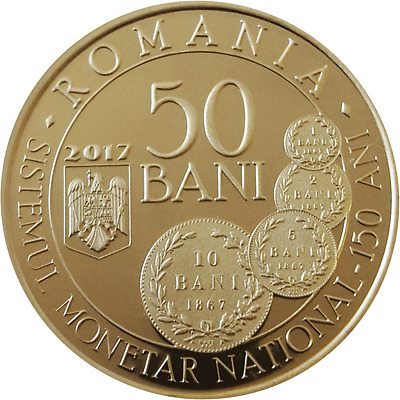 ROMANIA 50 bani 2017 Brass coin ROMANIAN Rumänien PROOF Monetary SYSTEM CAROL