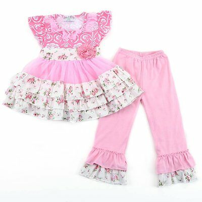 Girl's Floral Boutique Set- Pink Flowered Top with Pink Leggings,- NWT EASTER