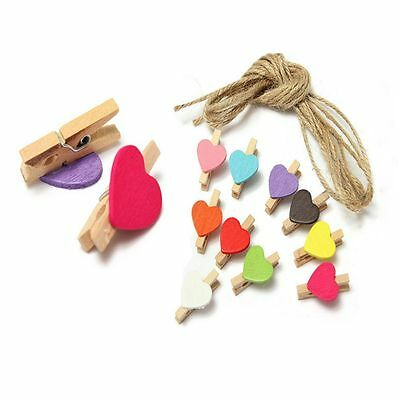 Chic Heart Shaped Room Mini Favor Craft Supply Decor Photo Clips Pegs Wooden