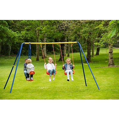 Kids Outdoor Garden Toy Metal Frame See Saw Glider Double Childrens Swing Set
