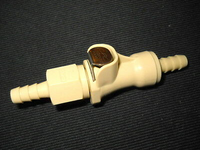 """CPC 1/4"""" Hose Barb PLC12 Series Valved In-Line Coupling Body & Insert, PP"""