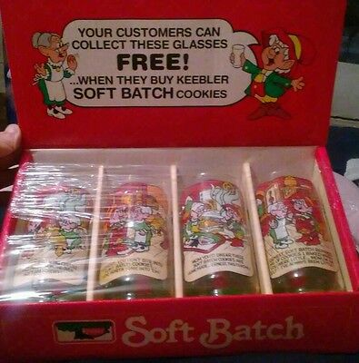 Keebler Soft Batch Collectable Cookie Glasses Vintage 1984  Store Display? Boxed