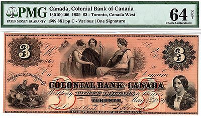 Canada - Colonial Bank - Toronto - $3 1859 - PMG Choice Uncirculated 64 Net!!