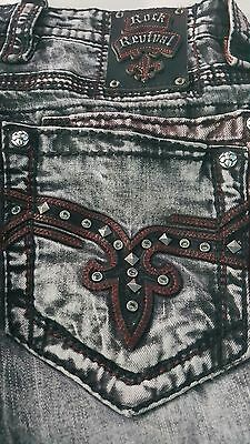 HOT ROCK REVIVAL  JEANS SIZE 33x 32  THICK STITCH STRAIGHT  CONALL