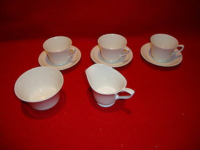 Royal Worcester Ivory White Demitasse Set 3 Cups & Saucers Creamer And Sugar EUC