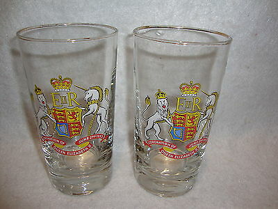 Libbey CORONATION OF QUEEN ELIZABETH II June 2ND 1953 TALL GLASSES Lot x 2