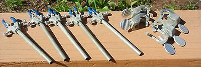Lot Of Ten (10) Lab Stand Clamps: Five (5) Fisher 3-Prong & Five (5) Flex Frame