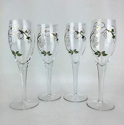 Perrier Jouet Champagne Glass Flute Hand Painted  X6 Brand New FREE SHIPPING