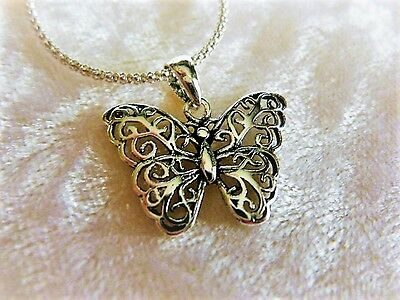 Sterling Silver Filigree Butterfly Pendant, stamped 925
