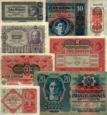 Super Collection 8 Crisp Rare Ww1 Austro-Hungarian Empire Gems Xf-Unc $300 Value