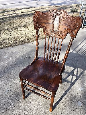 SET OF FOUR HW Hull & Sons OAK PRESS-BACK DINING CHAIRS - Estate Sale