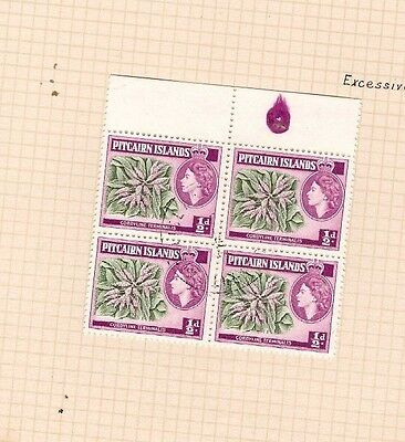 Pitcairn Island SG18 1/2d Flower Excessively Inked Guide ERROR Fine Used