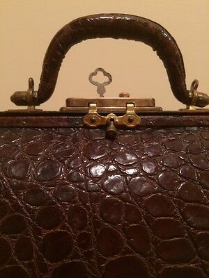 "Antique Alligator - Brass Doctor Bag w KEY 12"" Wide Rare Bag"
