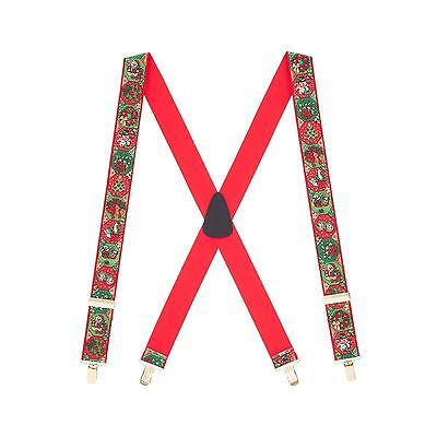 CHRISTMAS Spirit Genuine Leather Crosspatch Clip-End Novelty Suspenders FOR MEN