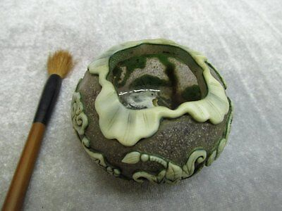 Chinese Peking Glass Carved Bat Inkwell / Brush washer