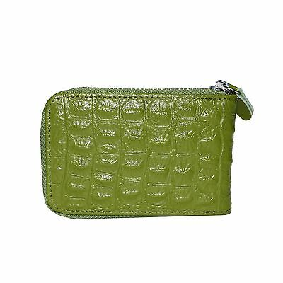 Genuine Leather Accordion Zipper Credit Case Card Holder Wallet with ID Window