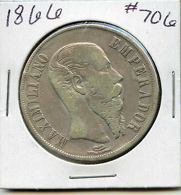 Mexico 1866 Empire of Maximilian 1 Peso Silver Coin. Circulated. Lot #301