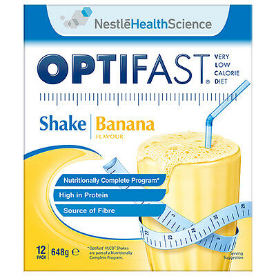 NEW Optifast VLCD Shake Pack Vlcd Shake Banana Diet Nutrition High Protein 12Pk