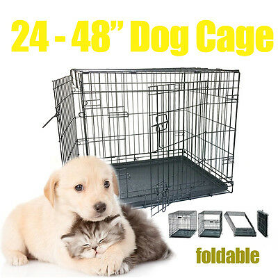 24/30/36/42/48 INCH PET CAGE Collapsible Metal Crate With Tray For Cat/Dog/Pets