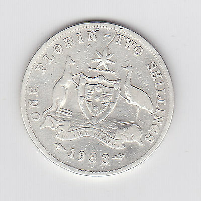 1933 Kgv Australian Florin (92.5% Silver) - Very Nice Low Mintage Coin