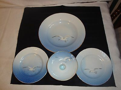 "B&g Denmark Seagull 8"" Soup Bowl 2 Bread And Butter Plates 6"" , Candle Holder"