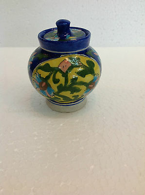 Handcrafted Blue Pottery Storage Jar Sugar Pot With Lid Kitchenware