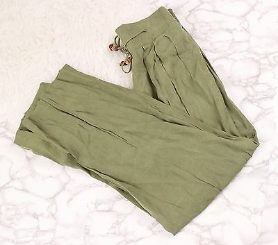Vintage 90s green trouser pants high waist straight leg minimalist tie waist