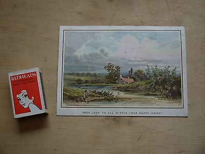 """(F1P9) Beautiful c.1900 Greeting Card 'Good Luck to all within your happy home!"""""""