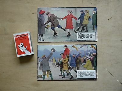 (F1P9) Lot x2 1940's Peter Newell Illustrated Bigger-than-Weather Boys Cards No1
