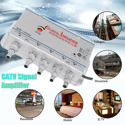 220V 4 Way CATV TV VCR Antenna Signal Amplifier AMP Video Booster Splitter Cable