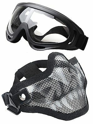 Airsoft Half Face Mask Steel Mesh with Windproof Goggles Set Skull CS Game Parts