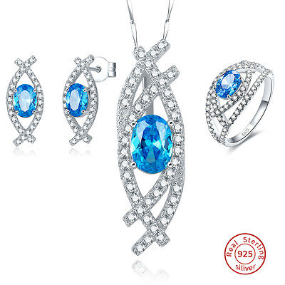 Bridal Blue & White Topaz Ring+Necklace+Earring 925 Sterling Silver Jewelry Sets