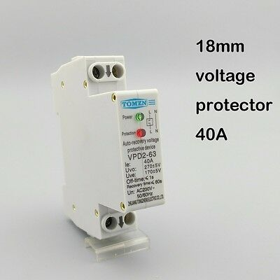 18mm 40A 230V 50/60HZ over and under voltage protective device relays 1P+N