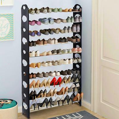 40~50 Pair 10 Tier Space Saving Storage Organizer Standing Shoe Tower Rack