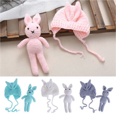 Newborn Baby Girl Boy Rabbit Toy Knit Crochet Hat Photography Prop Outfit Gift