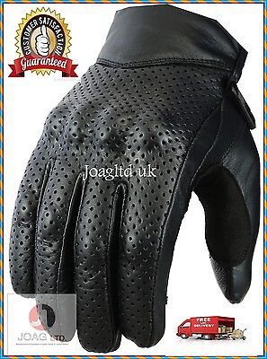 Cow Leather Motorbike Motorcycle Gloves Knuckle Shell Protection Vented Summer