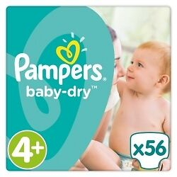Pampers Baby Dry S4+ / 2x 56 Couches