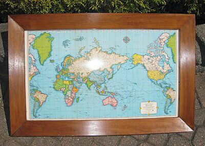 Vintage RAND McNALLY WORLD MAP in WOOD FRAME