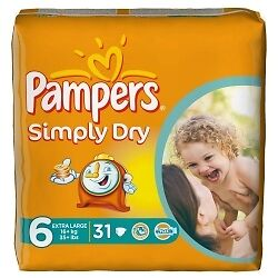 Pampers Simply Dry S6 - 2x 31 Couches