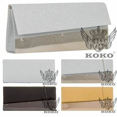 New Womens Chain Strap Patent Panel Shimmer Prom Wedding Clutch Shoulder Bag