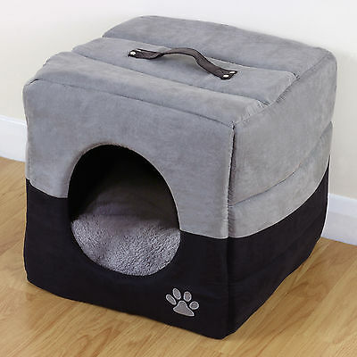 Grey & Black Soft Cosy Igloo Cave Warm Pet Bed Dog/Puppy/Cat/Kitten Cube House
