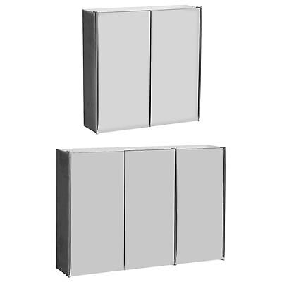 Bathroom Cabinet Double Triple Door Wall Mounted Mirror Storage Stainless Steel