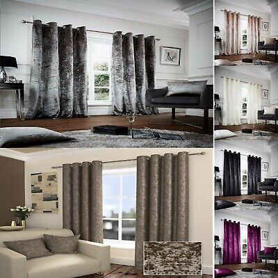 """""""Opulence"""" Crush Crushed Velvet Eyelet Ring Top Ready Made Lined Curtains"""